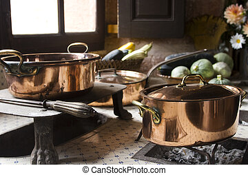 17th century cooking - Copper pans on 17th century coal...