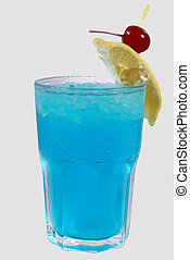 ice cold drink with cherry and lemon - the ice cold drink...