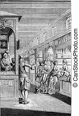 A Bookseller eighteenth century, vintage engraving. - A...
