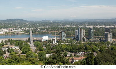 Time lapse aerial Portland zoom out - Time lapse zoom out...
