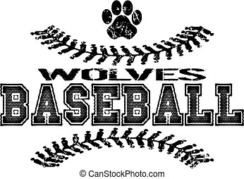 wolves baseball - distressed wolves baseball team design...