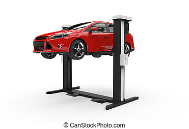Car lifting on a white background