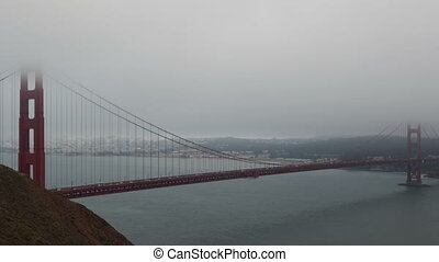 Time lapse Golden Gate Bridge fog - Time lapse zoom out...