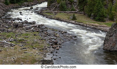 Time lapse rough Yellowstone River - Time lapse rough stream...