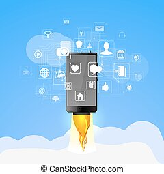 concept of high speed internet access - Vector illustration...