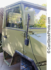 Military truck - Rear view mirror in a military truck