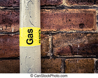 Gas Pipe - Detail Of A Residential Gas Pipe Against A Red...