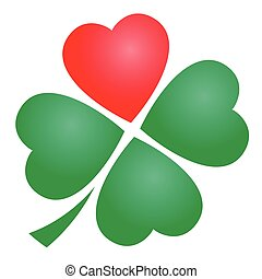 Four Leaved Clover Heart - Four leaved clover with one red...