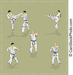 Set of the men showing karate