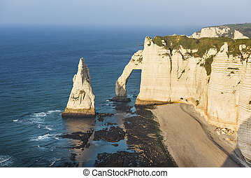 Etretat cliff France - Falaise d'Amont cliff at Etretat,...