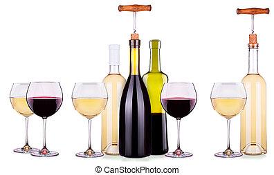 set, bottiglie, occhiali, bianco, rosso, vino