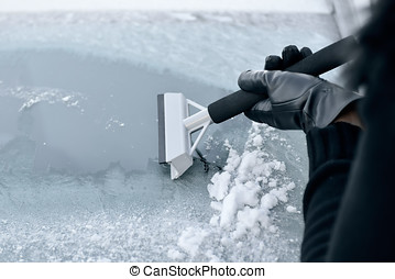 Winter Driving - Woman Scraping Ice - Winter Driving - Woman...