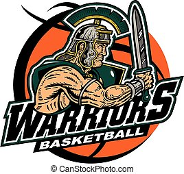 warriors basketball team design with muscular mascot inside...