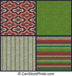 Seamless Knitted Pattern. Set of Christmas Samples
