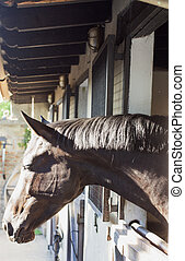Horse - Head of brown horse in a stable, vertical image