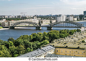 View of Bolsheokhtinsky bridge from bell tower of Smolny...