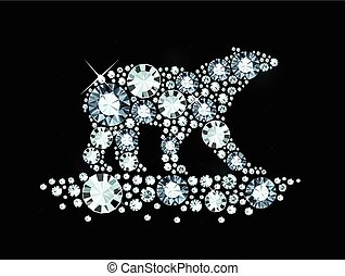 Diamond Polar Bear - Polar Bear Made of Shiny Diamonds
