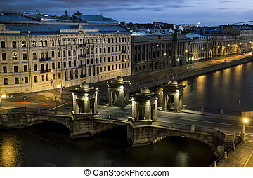 The view to the bridge of Lomonosov over the river Fontanka...