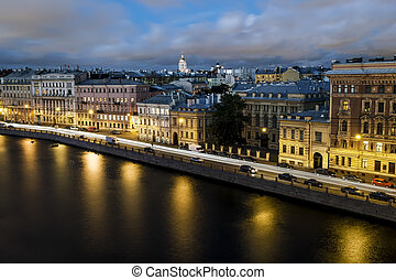 Roof view on the Fontanka river in St. Petersburg at evening...