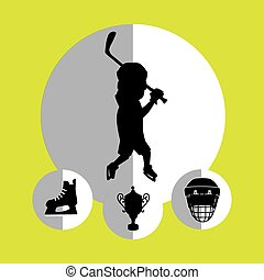 Sport hockey equipment design over yellow background, vector...