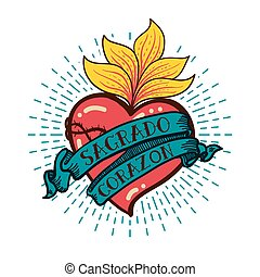 Sacred Heart old schooll style - Sacred Heart print old...