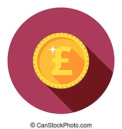 Vector gold coin. The flat style.