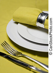 table setting in yellow