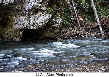 river flow at Slovensky Raj - Photo of a fast river flow at...