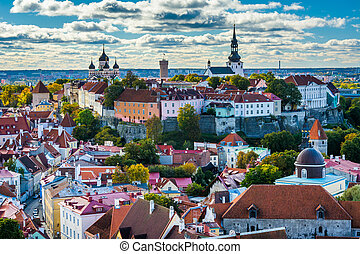 View of the Old Town and Toompea Hill from St. Olaf's Church...