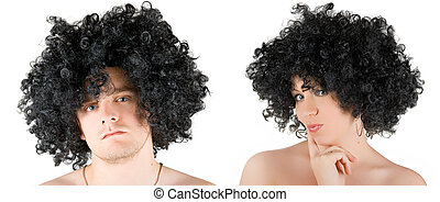frizzy woman and man
