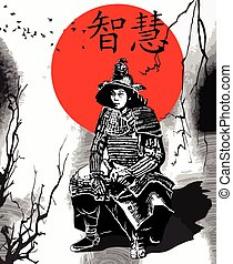 An hand drawn vector from Japan Culture - Samurai, Shogun -...