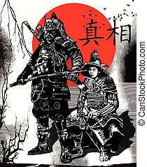 An hand drawn vector from Japan Culture - Samurais, Shoguns...