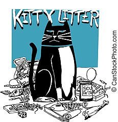Kitty Litter - cartoon drawing of cat surrounded with...