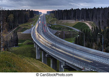 A highway crosses the Russian forest at night - Viaduct...