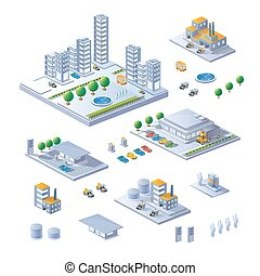 Large set - A large set of isometric buildings, buildings...