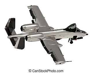 Military silver jet airplane during airshow on white...