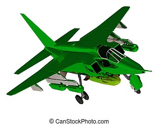 Fighter green color army airplane during airshow Front view