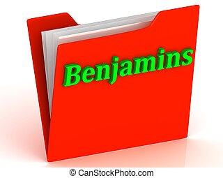 Benjamins- bright green letters on a gold folder on a white...