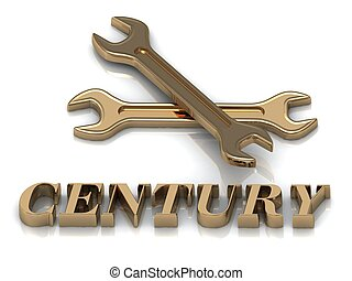 CENTURY- inscription of metal letters and 2 keys on white...