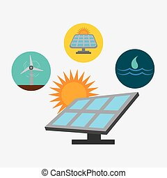 Green energy ecology design over white background, vector...