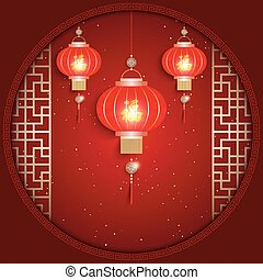 Chinese New Year Greeting Card on Red Background
