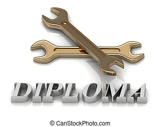 DIPLOMA- inscription of metal letters and 2 keys on white...