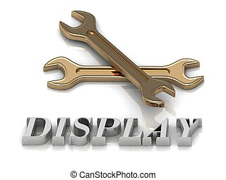 DISPLAY- inscription of metal letters and 2 keys on white...