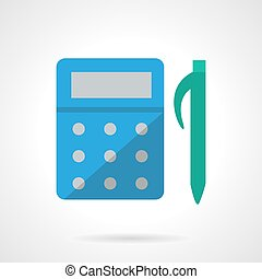 Counting flat color vector icon - Blue calculator and green...