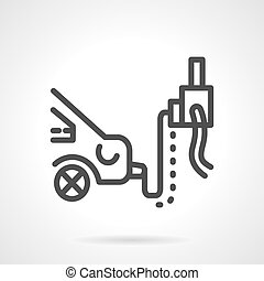 Car emission inspection simple line vector icon - Automobile...