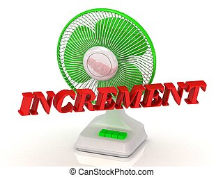 INCREMENT- Green Fan propeller and bright color letters on a...