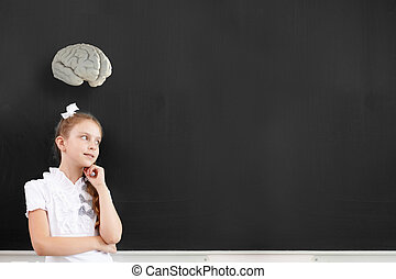 Let me think - Cute thoughtful school girl and brain above...