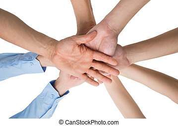 People Hands Stacking Together - Low Angle View Of People...