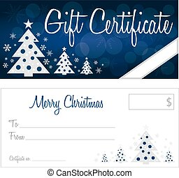 Christmas gift certificate back and front no shadow on the...