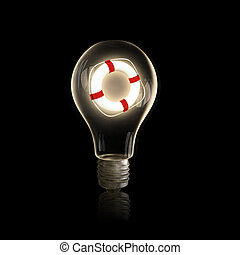 Life insurance - Light bulb with life buoy on black...